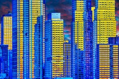 Manhattan Skyscrapers: Gold and Blue Reflections Photography