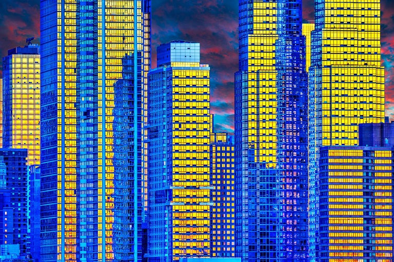 Mitchell Funk Abstract Photograph - Manhattan Skyscrapers: Gold and Blue Reflections Photography