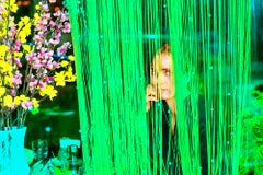 Mysterious Beautiful Young Woman Peers though and Green Blinds