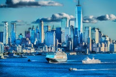 New York City, Lower Manhattan Blue Skyline with Boats