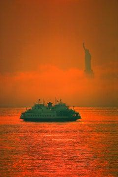 New York Fog with Statue of Liberty Orange Glow