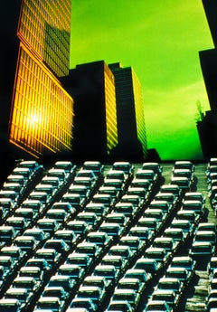 New York Skyscrapers with Green Sky and Divergent Perspective