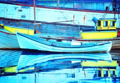 Old Boats In Iceland With Blue Reflections In Water, Abstract