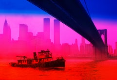 Old Tug under Brooklyn Bridge New York Skyline
