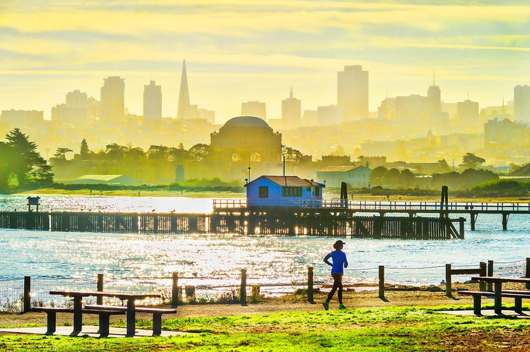 Mitchell Funk Landscape Photograph - Palace Of Fine Arts Marina District of San Francisco with Runner Pastel Colors