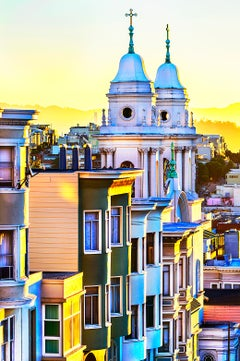 Pastel Color Palette of  Russian Hill, San Francisco with golden light