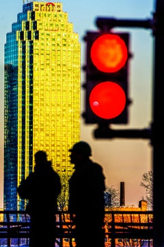 Red Stop Light. Golden Skyscrapper New York City