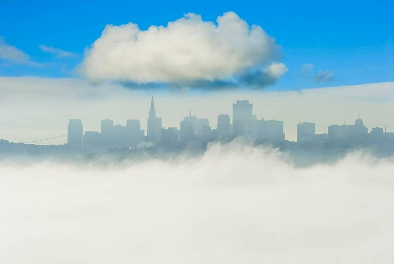 Mitchell Funk Color Photograph - San Fransico Skyline with one big cloud