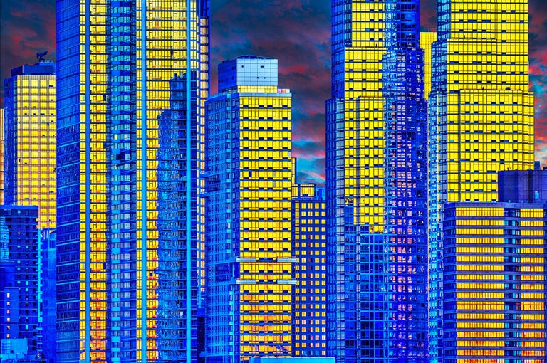 Mitchell Funk Landscape Photograph - Skyscrapers in magical light