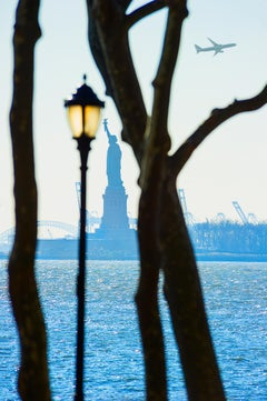 Statue Of Liberty  Framed By Trees And Streetlamp In Battery Park,  New York