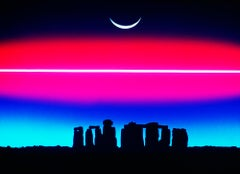 Stonehenge and Eclipse with Pink Sci-Fi Glow