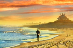 Surfer, East Hampton Beach with Dramatic Sunset and Golden Light