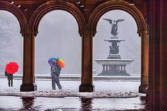 The Bethesda Terrace And Fountain In Snow, Central Park, New York City