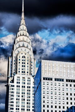 Top Of Chrysler Building Against Dramatic Clouds