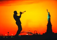Trumpet Jazz Musician  and Statue of Liberty