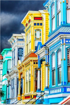 Turquoise and Yellow Victorian Houses in Mission District San Francisco