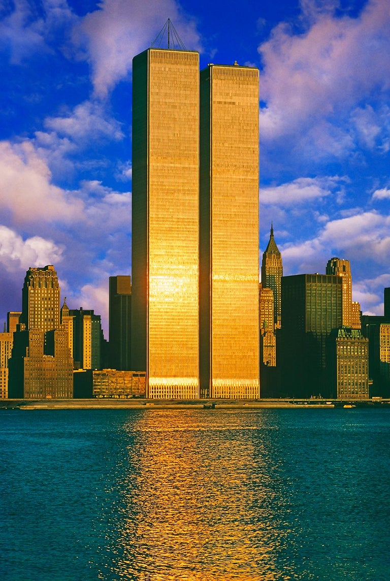 Mitchell Funk Color Photograph - Twin Towers, World Trade Center in Gold
