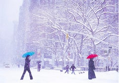 Two Umbrellas in New York Snowstorm