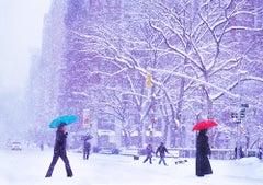 Two Umbrellas in New York Snowstorm
