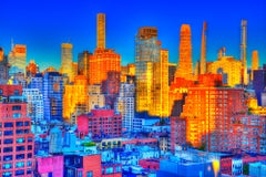 Unseen New York. Manhattan sky line in pinks, golds and blues