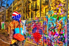 Urban Graffiti Art Wall Painting  American Flag Onlooker, New York Street Art