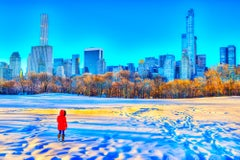 Warm Light Of Sunrise After Snowstorm In Central Park, New York City