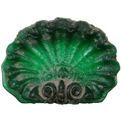 Mitchell Gaudet Green Scalloped Art Glass Shell Paperweight Palmette Tile