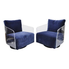 Mitchell Gold & Bob Williams Lucite Lucy Swivel Blue Club Lounge Chairs, a Pair