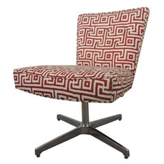 Mitchell Gold + Bob Williams Red and Natural Swivel Armless Upholstered Chair