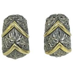Mitchell Peck 18 Karat Sterling Chevron Floral Earring