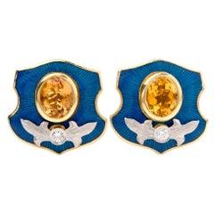 Mitchell Peck Citrine Diamond 18 Karat Gold Platinum Starburst Clip-On Earrings
