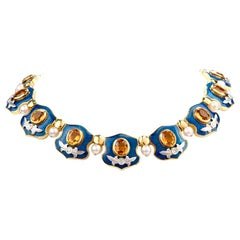Mitchell Peck Citrine Diamond Pearl 18 Karat Gold Platinum Collar Necklace