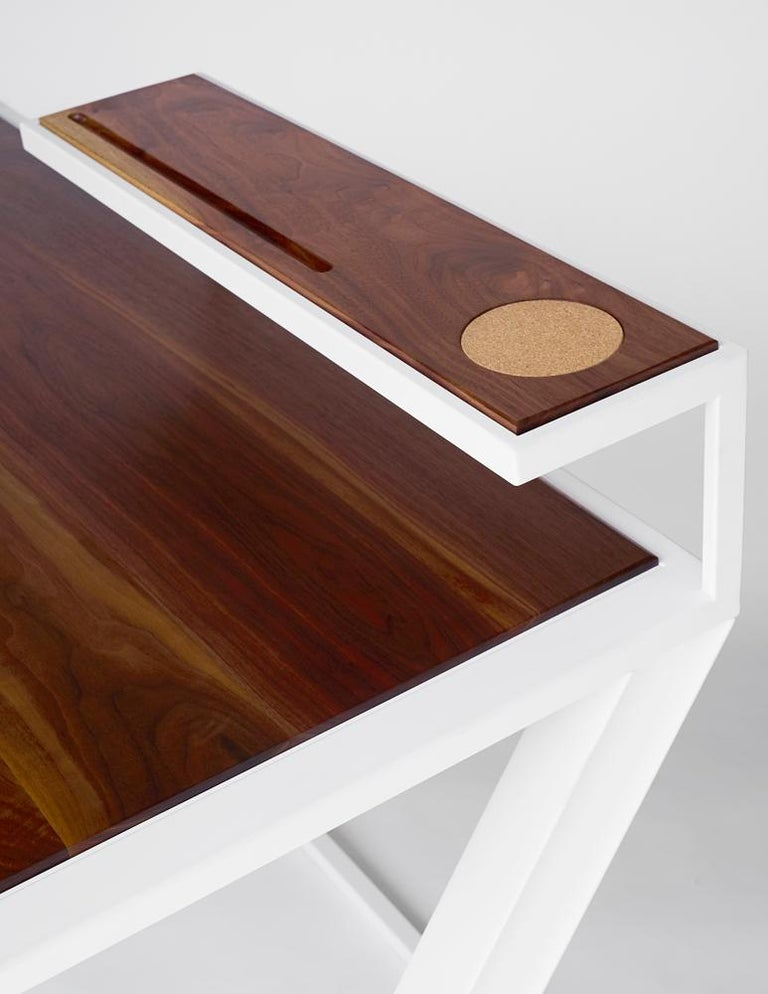 Inlay Miterz Modern Writing Desk by Cauv Design Powder Coated Steel and Black Walnut For Sale