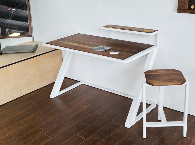 Miterz Modern Writing Desk by Cauv Design Powder Coated Steel and Black Walnut In New Condition For Sale In Brooklyn, NY