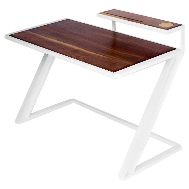 Miterz Modern Writing Desk by Cauv Design Powder Coated Steel and Black Walnut For Sale