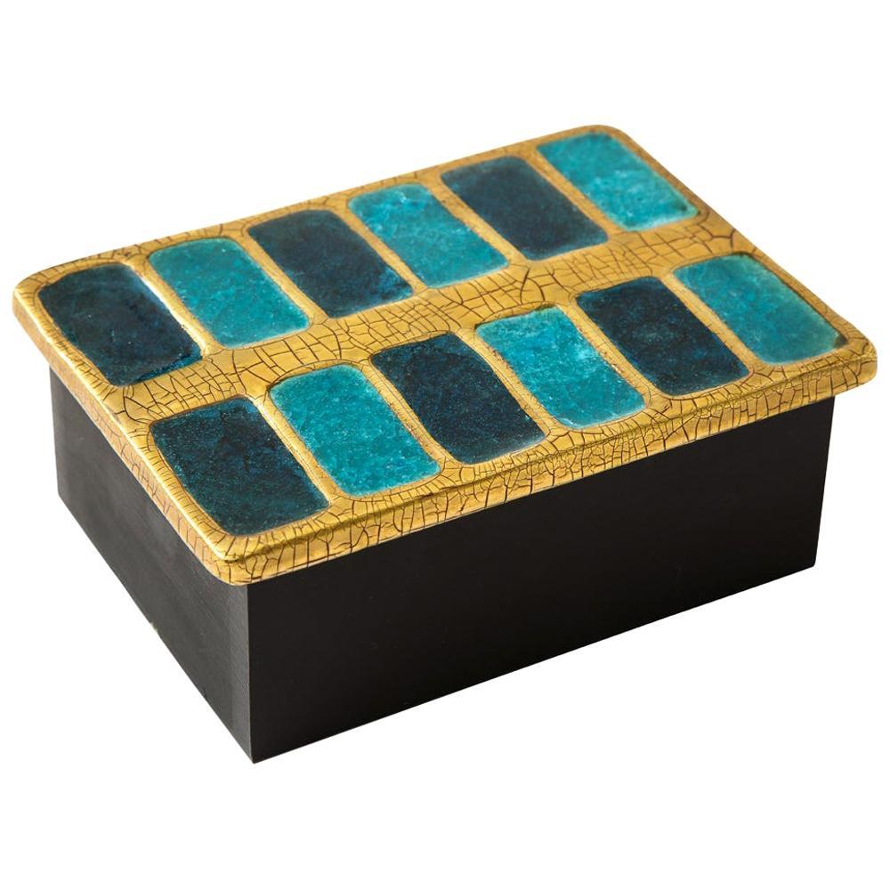 Mithé Espelt Box, Ceramic, Gold and Blue Fused Glass