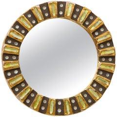 Mithé Espelt Ceramic Enameled Brown Gold Mirror, France, 1970s