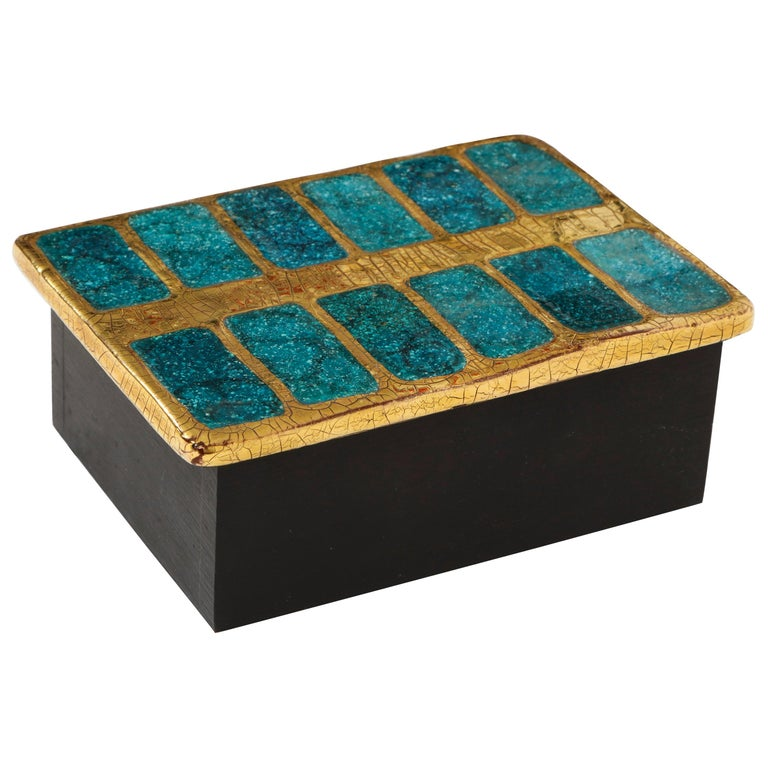Mithe Espelt Ceramic Gold and Blue Enamel Box, France, 1960 For Sale