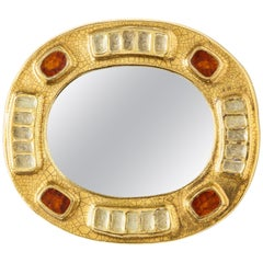 Mithé Espelt Ceramic Jewel Mirror with Gold and Dark Red Enamel, France, 1970s