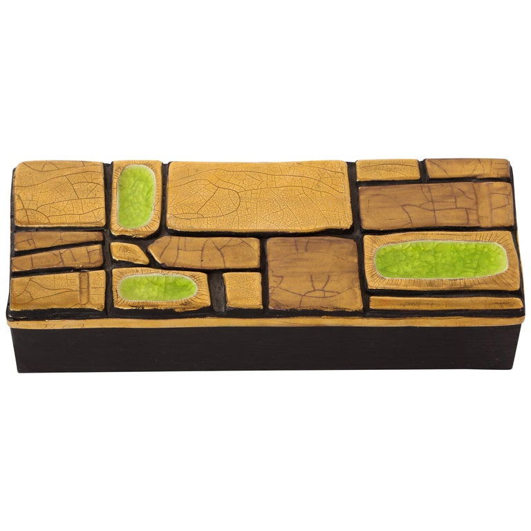 Mithe Espelt Enamel Ceramic Box Gold Yellow Green Midcentury, France, 1960s For Sale