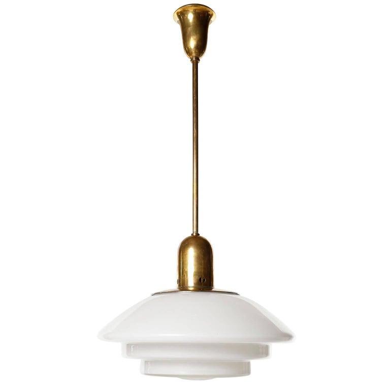 German Mithras Pendant Light, Opal Glass Brass, August Walther Und Söhne, Bauhaus, 1935 For Sale