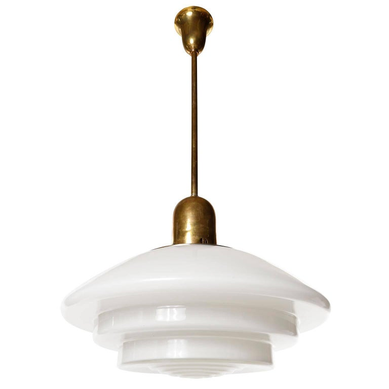 Mithras Pendant Light, Opal Glass Brass, August Walther Und Söhne, Bauhaus, 1935 In Good Condition For Sale In Vienna, AT