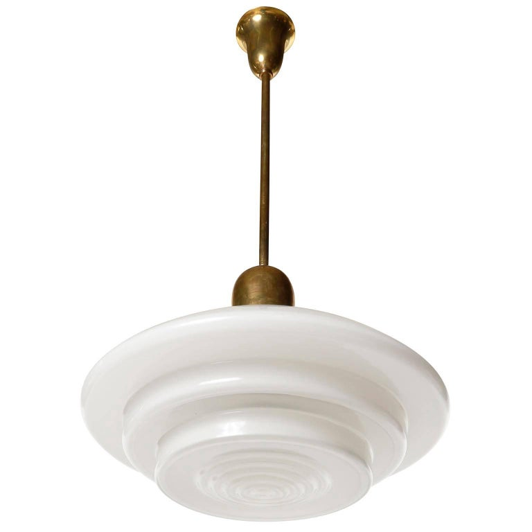 Mid-20th Century Mithras Pendant Light, Opal Glass Brass, August Walther Und Söhne, Bauhaus, 1935 For Sale