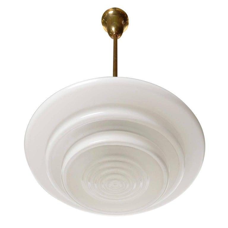 Mithras Pendant Light, Opal Glass Brass, August Walther Und Söhne, Bauhaus, 1935 For Sale 1