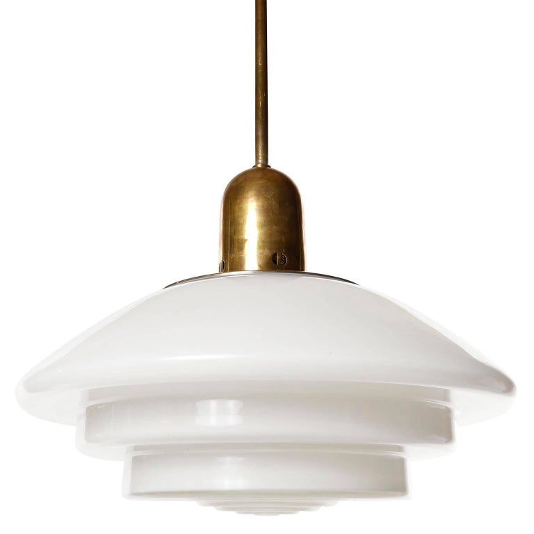 Mithras Pendant Light, Opal Glass Brass, August Walther Und Söhne, Bauhaus, 1935 For Sale 3