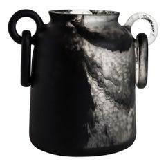 Mitla Bajo Handmade Double Ring Black & Clear Resin Vase