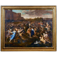 Mitologia, Allegrini 17th Century Oil on Canvas the Rape of Sabines Painting