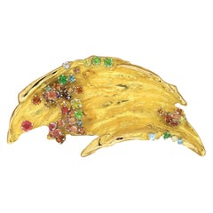 Mitsuo Kaji Multi-Color Gem Diamond Gold Brooch Pendant