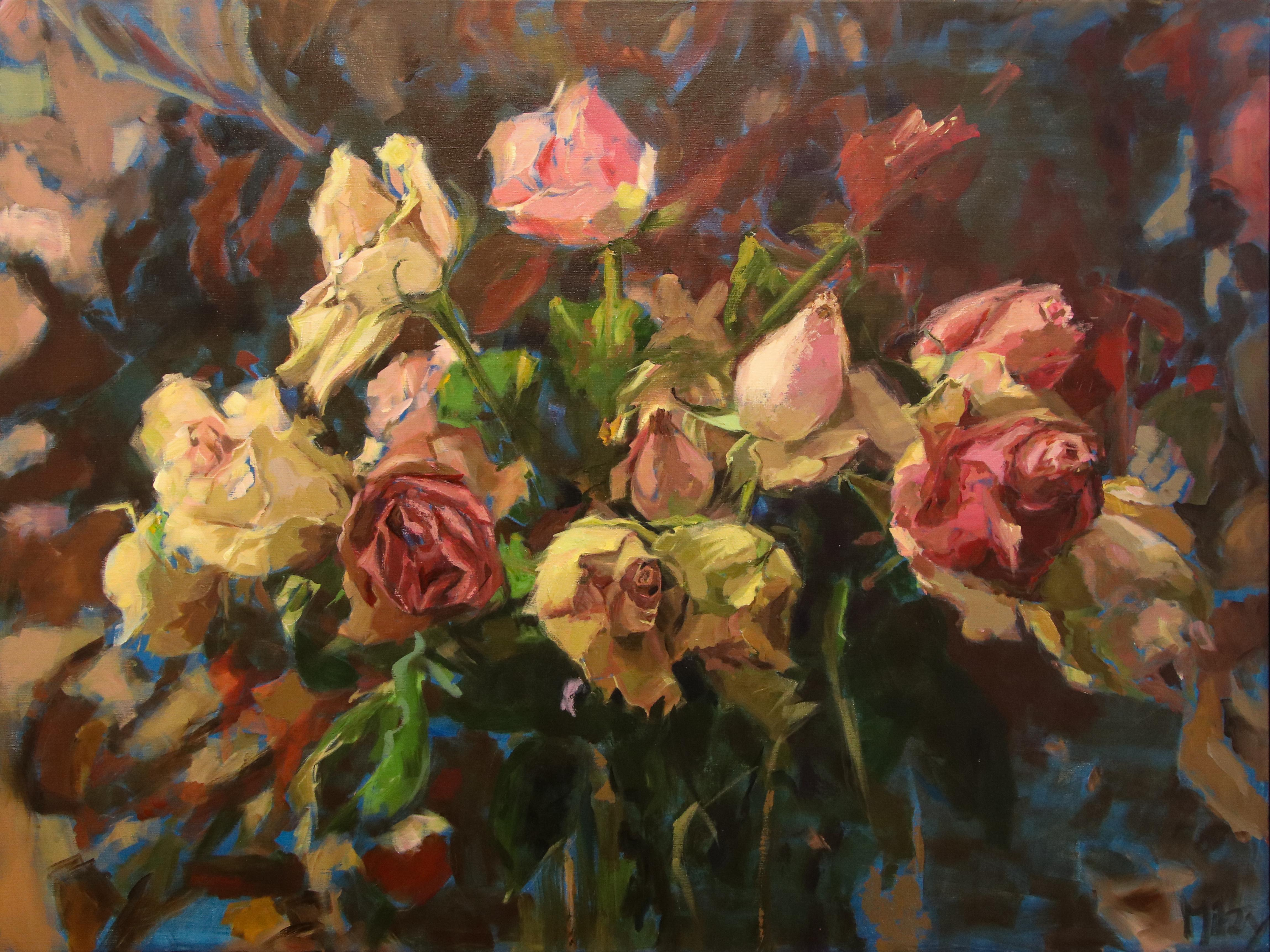 Roses- 21st Century Contemporary Acrylic Painting by Dutch Mitzy Renooy