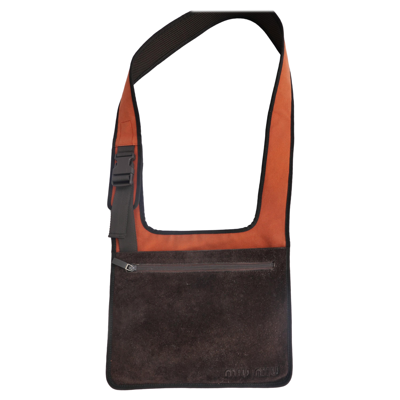 Miu Miu A/W 1999 Brown Suede and Bright Orange Crossbody Buckle Bag